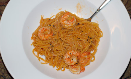 Improvised shrimp pasta