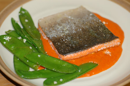 Salmon with Red Pepper Sauce
