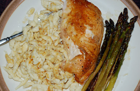 Roast chicken and spaetzle