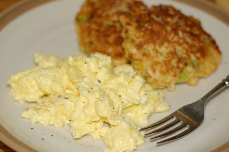 bills scrambled eggs and corn fritters
