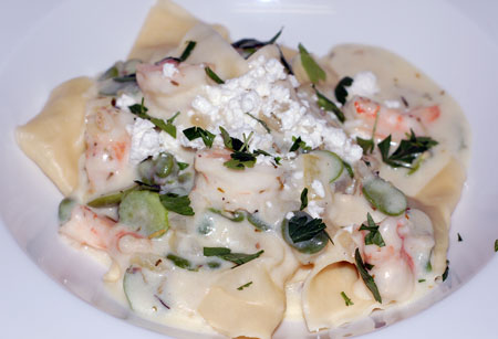 Fava ravioli with shrimp and herb sauce