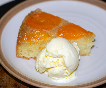 Apricot almond upside down cake with olive oil ice cream