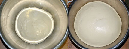 Cinnamon roll dough, before and after