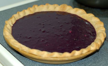 Grape pie ready for the oven