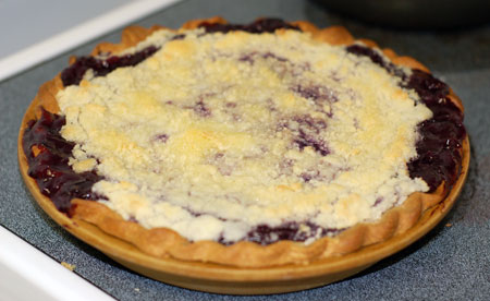 Grape pie out of the oven