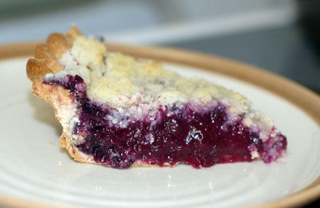 Sliced grape pie