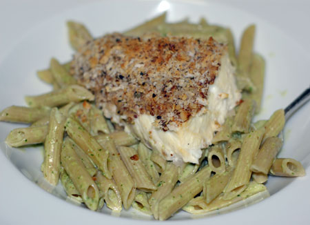 Halibut with walnut crust and arugula pesto penne