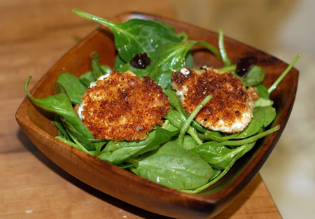 Spinach Salad with Warm Goat Cheese