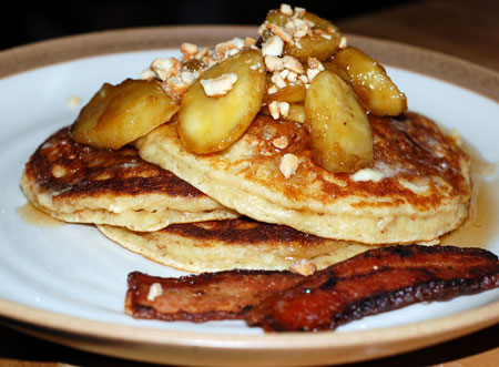 Ricotta Pancakes with Cashews and Bananas