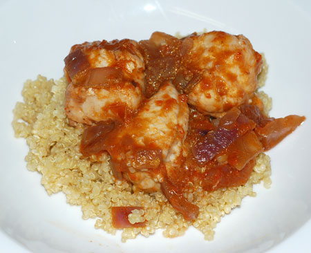 Braised monkfish on quinoa