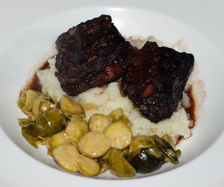 Braised beef ribs and Brussels sprouts