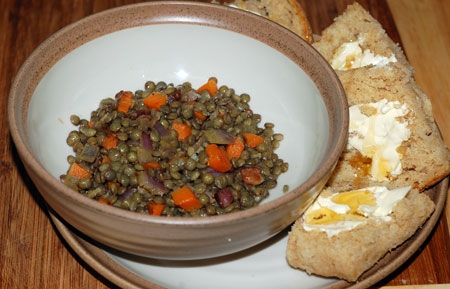 Lentil salad and buttermilk biscuits