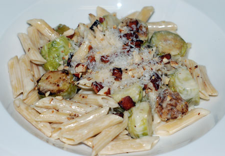 Penne with Bacon and Brussels Sprouts