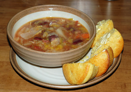 Veggie soup and cornbread muffins
