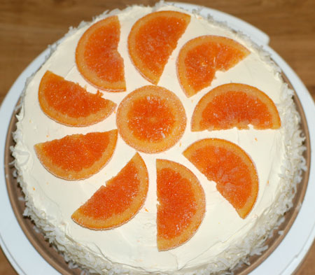Top-down creamsicle cake