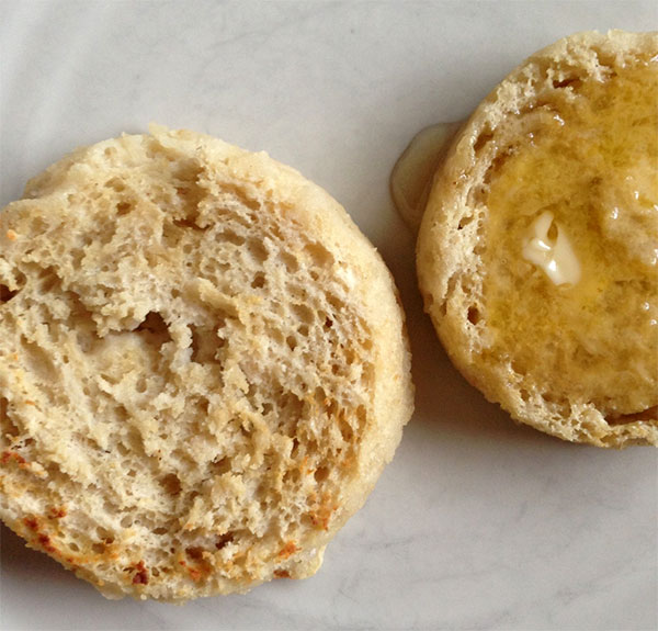Urad and coconut flour English muffins, toasted