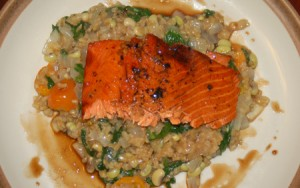 Pomegranate Salmon and Turkish Pilaf